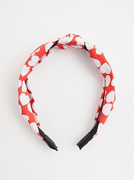 Red & White Heart Knot Headband, , hi-res