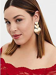 Gold-Tone Heart Drop Statement Earrings, , alternate