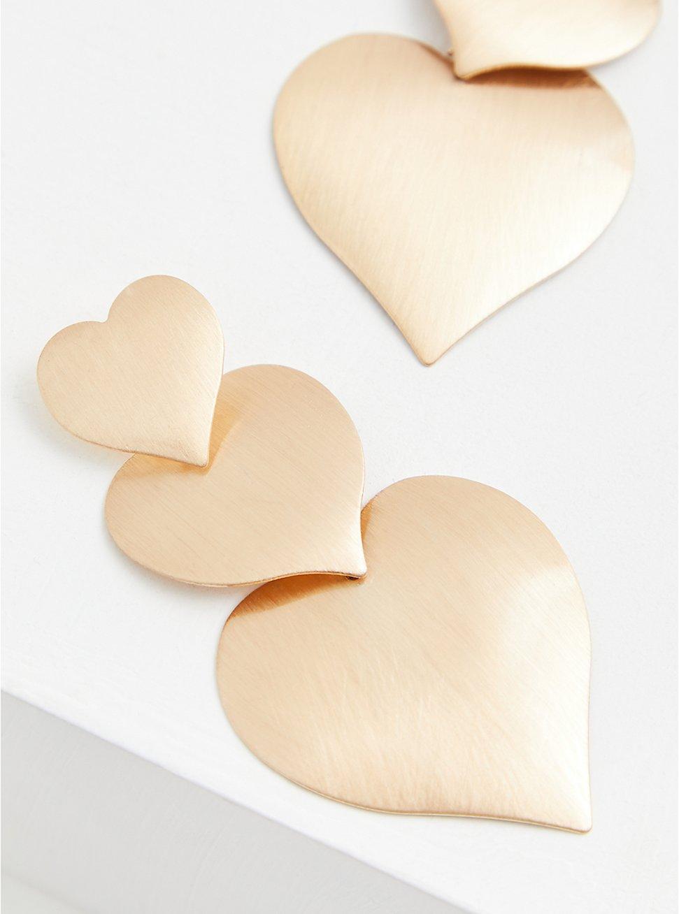 Gold-Tone Heart Drop Statement Earrings, , hi-res