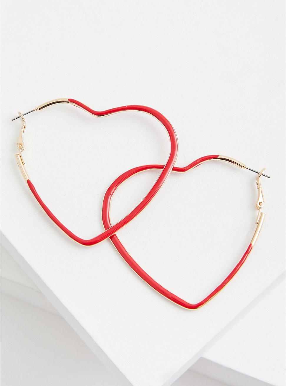Red Heart Hoop Earrings, , hi-res