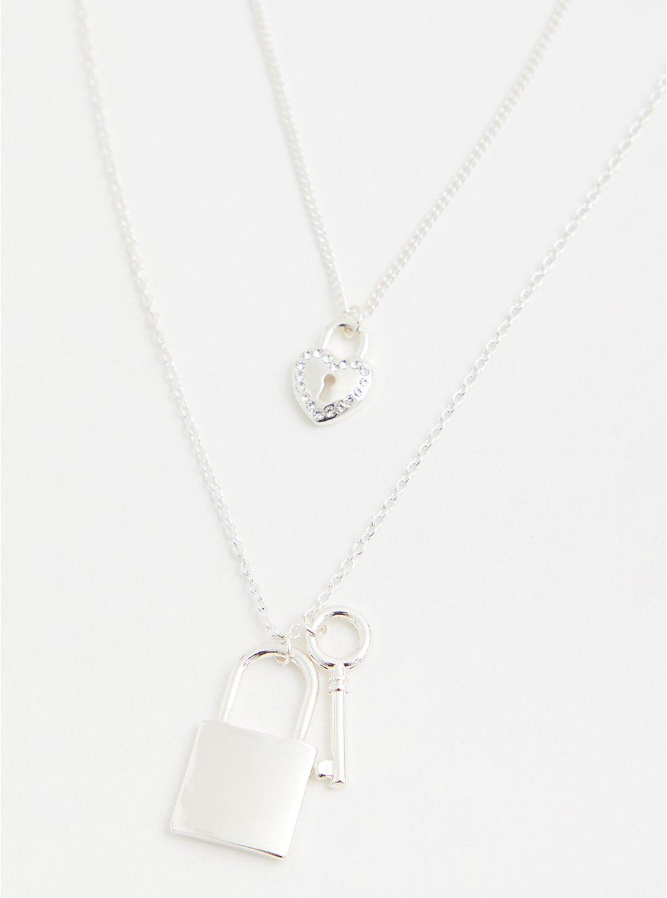Silver-Tone Lock & Heart Layered Necklace , , hi-res