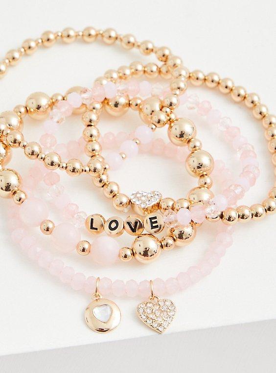 Love Gold-Tone & Pink Stretch Bracelet Set - Set of 5, , hi-res