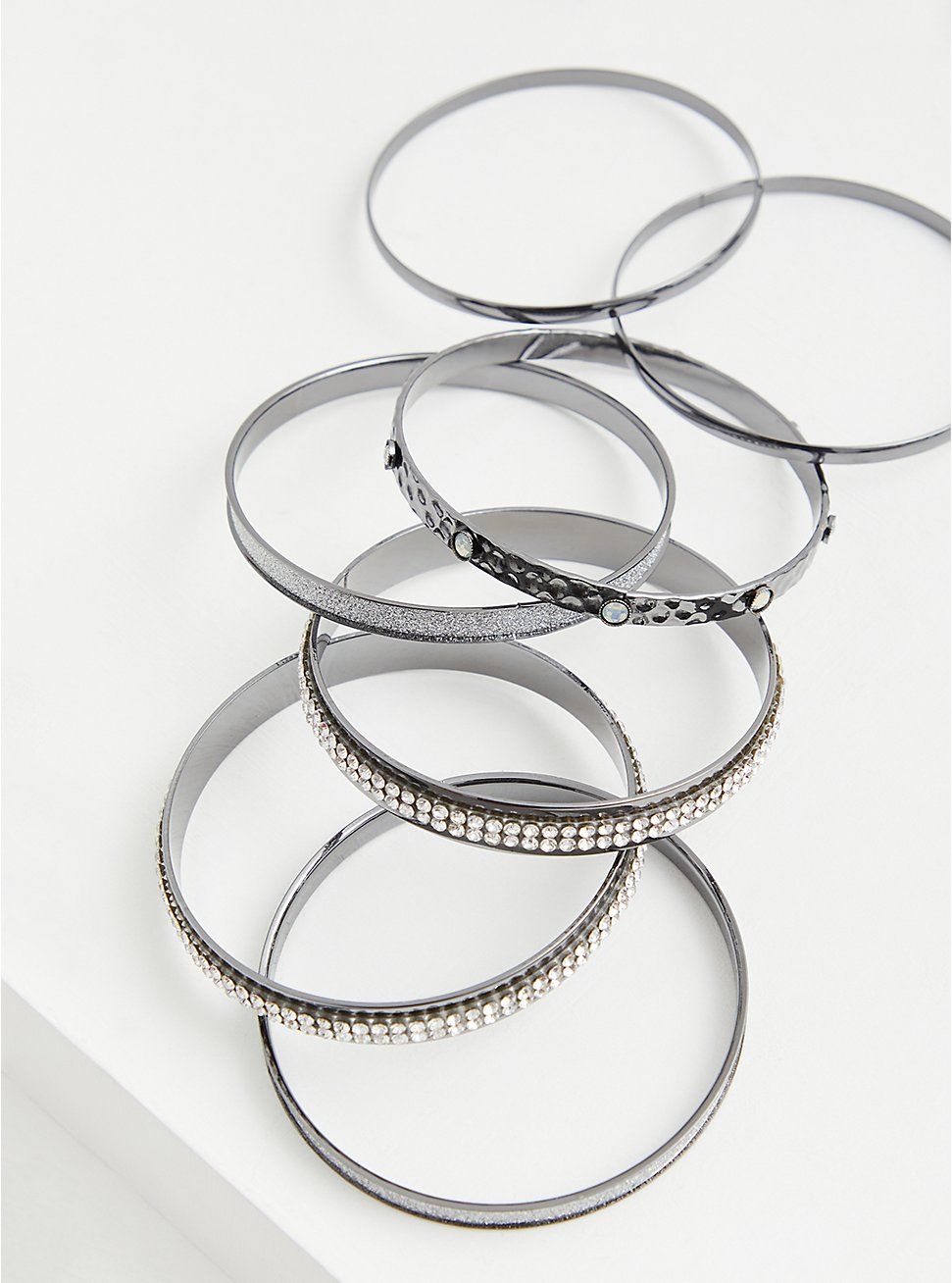 Hematite-Tone Rhinestone Bangle Set - Set of 7, HEMATITE, hi-res