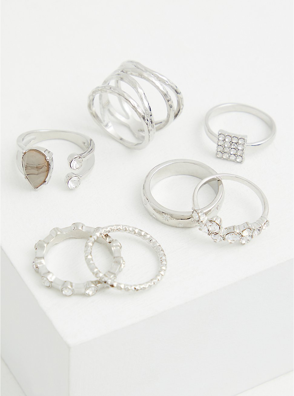 Silver-Tone Grey Stone Ring Set - Set of 7, GOLD, hi-res