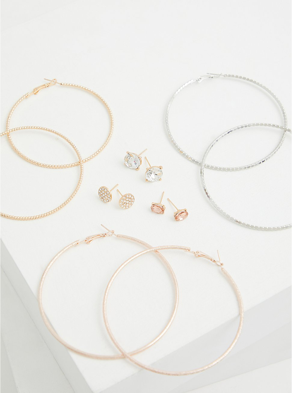 Gold-Tone Light Pink Stud & Hoop Earring Set - Set of 6, , hi-res
