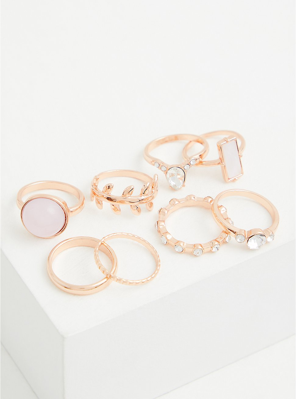 Gold-Tone Mauve Stone Ring Set - Set of 8, GOLD, hi-res