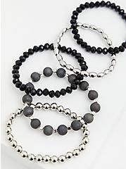 Black & Silver-Tone Stretch Bracelet Set - Set of 5, SILVER, alternate