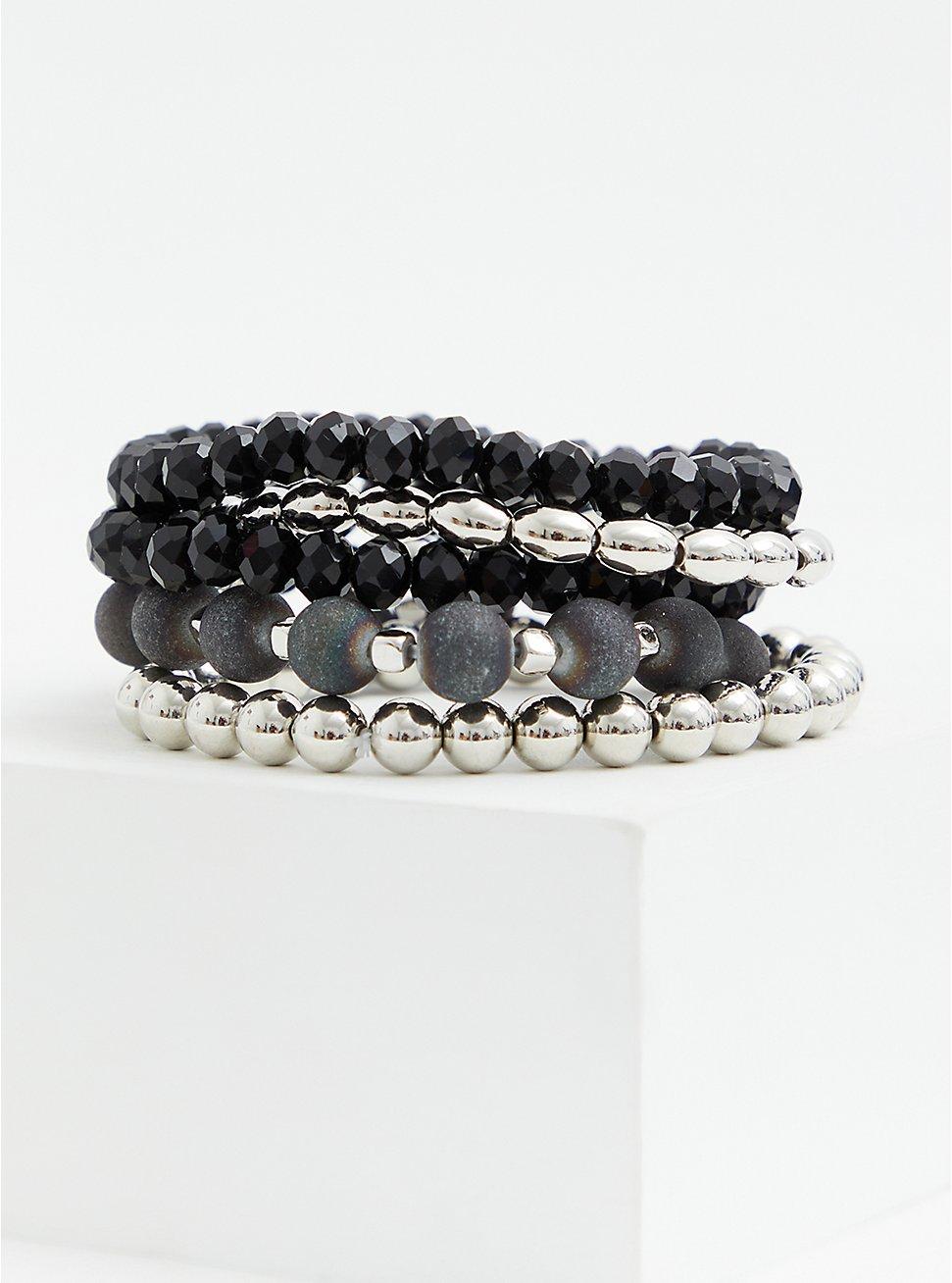 Black & Silver-Tone Stretch Bracelet Set - Set of 5, SILVER, hi-res