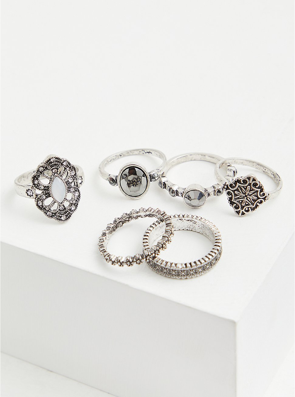 Burnished Silver-Tone Faux Stone Ring Set - Set of 6, SILVER, hi-res