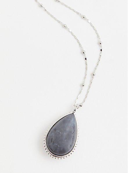 Blush & Grey Reversible Teardrop Pendant Necklace, , alternate
