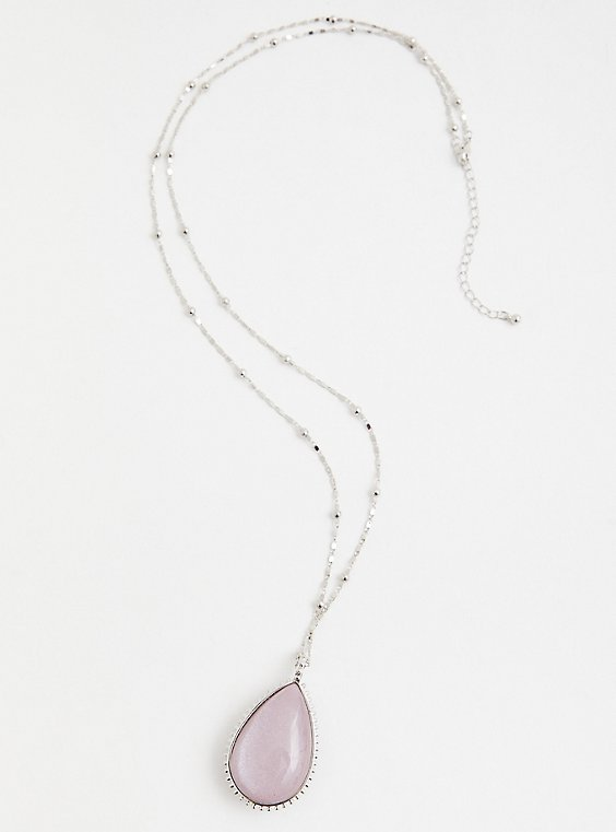 Blush & Grey Reversible Teardrop Pendant Necklace, , hi-res