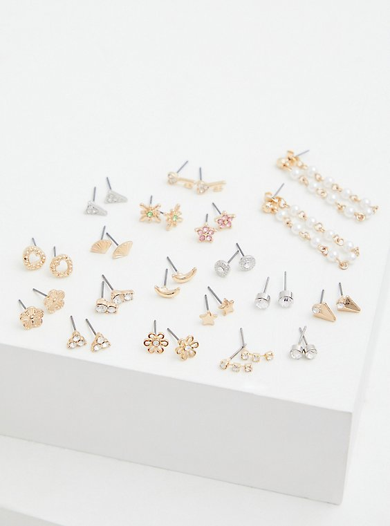 Gold-Tone Star Stud Earrings Set - Set of 18, , hi-res
