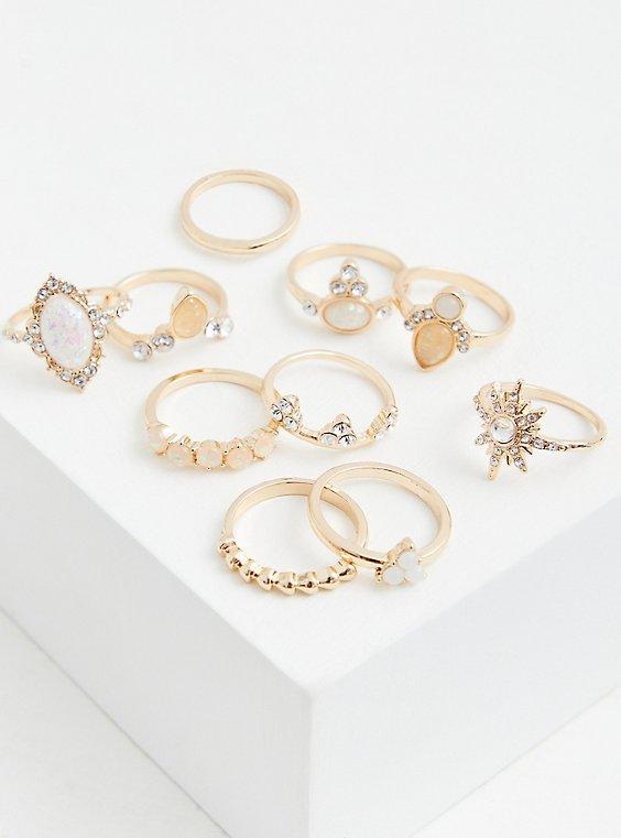 Gold-Tone Blush Faux Stone Ring Set - Set of 10, GOLD, hi-res
