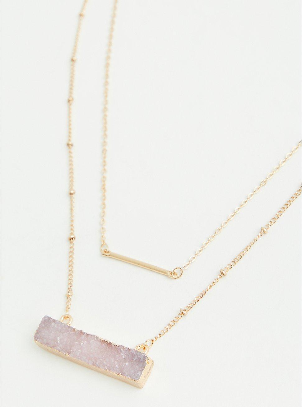 Gold-Tone & Blush Bar Faux Stone Layered Necklace, , hi-res