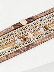 Brown Snakeskin Print & Gold-Tone Beaded Magnetic Bracelet, MULTI, alternate