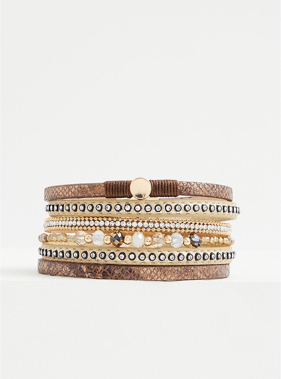Brown Snakeskin Print & Gold-Tone Beaded Magnetic Bracelet, MULTI, hi-res