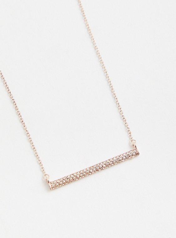 Gold-Tone Pave Bar Delicate Necklace, , hi-res