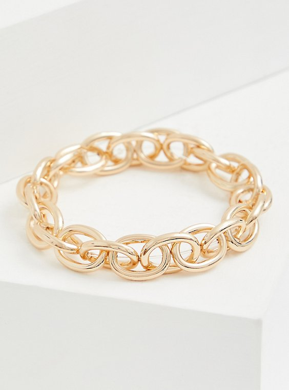 Gold-Tone Chain-Link Stretch Bracelet, , hi-res
