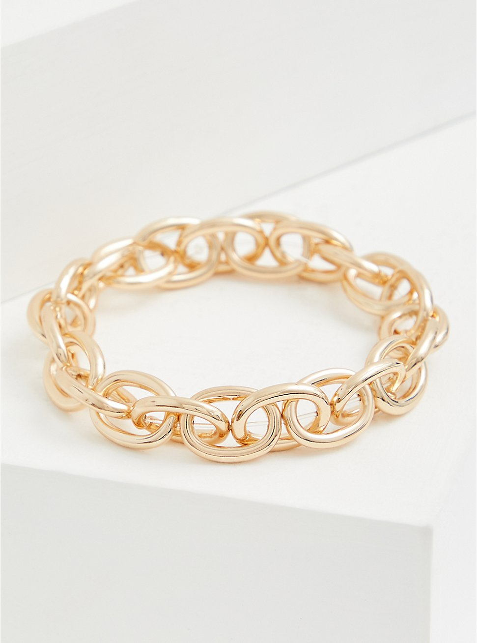 Gold-Tone Chain-Link Stretch Bracelet, GOLD, hi-res