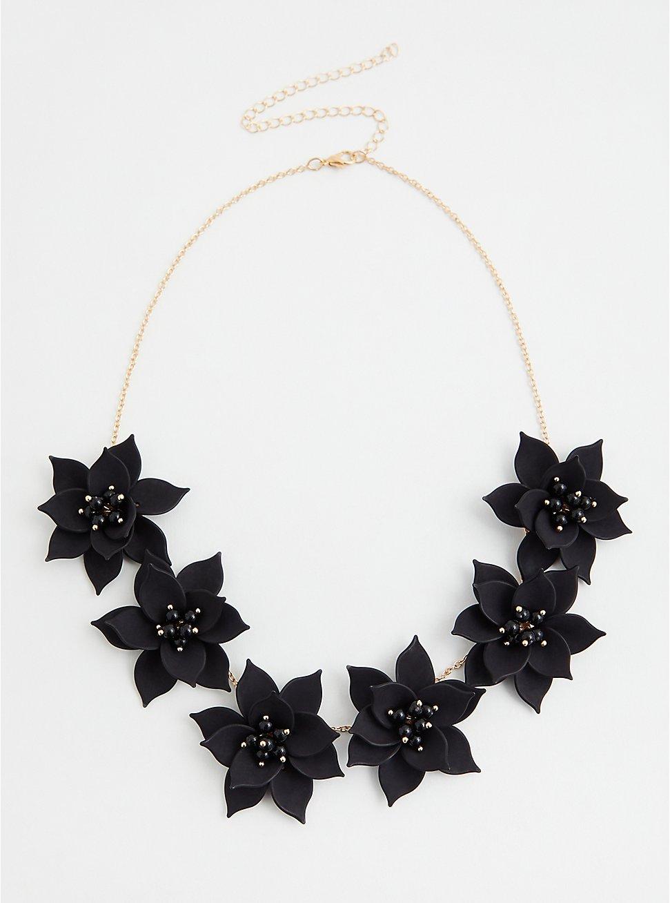 Gold-Tone & Black Floral Statement Necklace, , hi-res