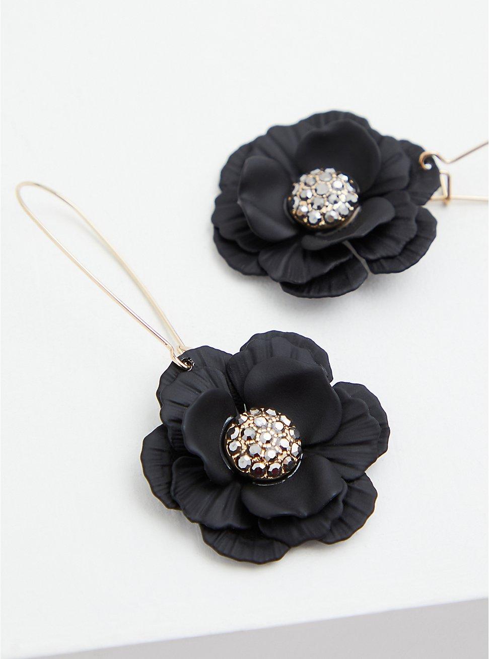 Matte Black Floral Drop Earrings, , hi-res