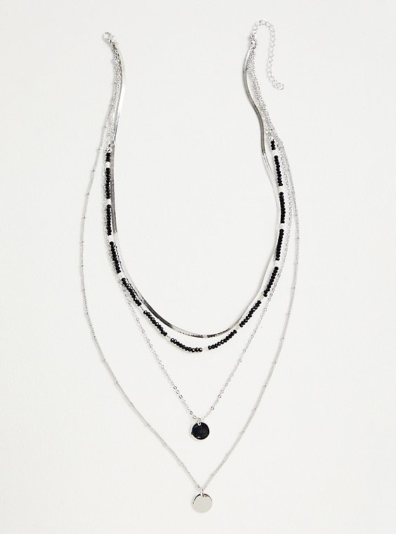 Silver-Tone & Black Beaded Layered Necklace, , hi-res