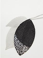 Silver-Tone Foil Dipped Leaf Pendant Necklace, , alternate