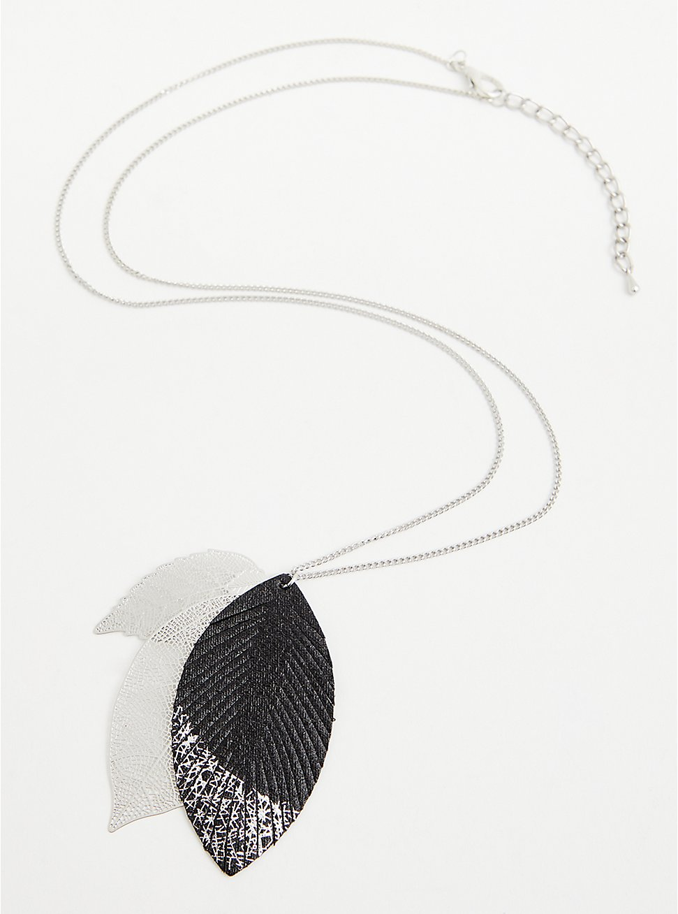 Silver-Tone Foil Dipped Leaf Pendant Necklace, , hi-res