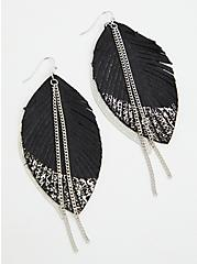 Silver-Tone Dipped Feather Earrings, , alternate