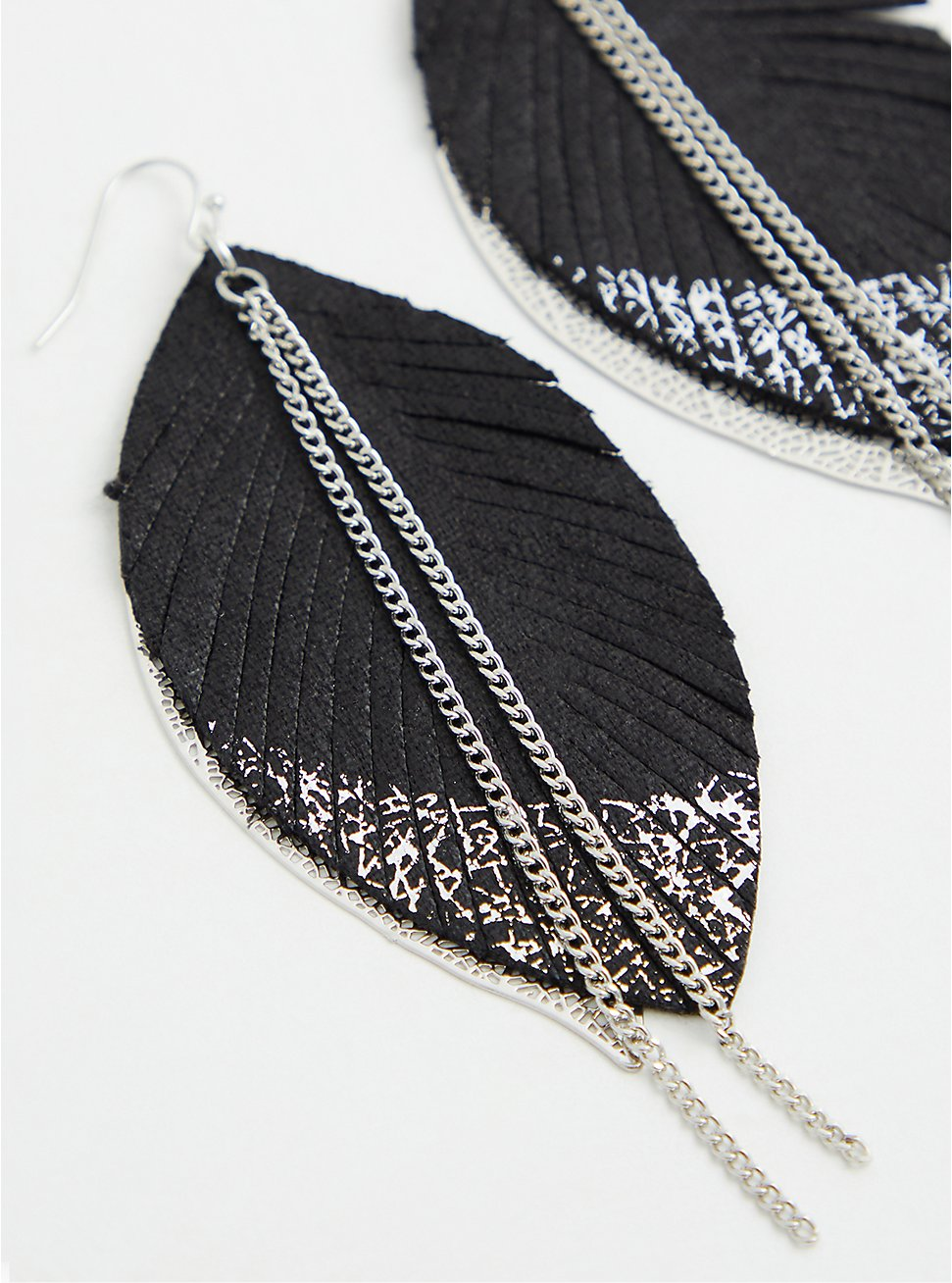 Silver-Tone Dipped Feather Earrings, , hi-res