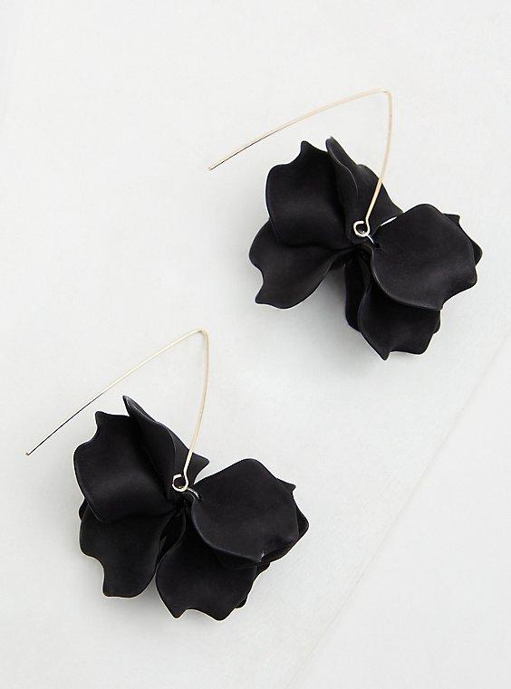 Gold-Tone & Black Petal Hoop Earrings, , hi-res