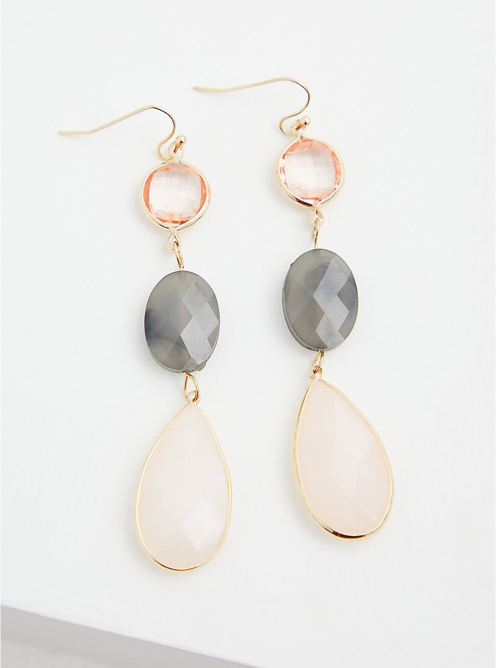 Gold-Tone Faux Stone Drop Earrings, , hi-res
