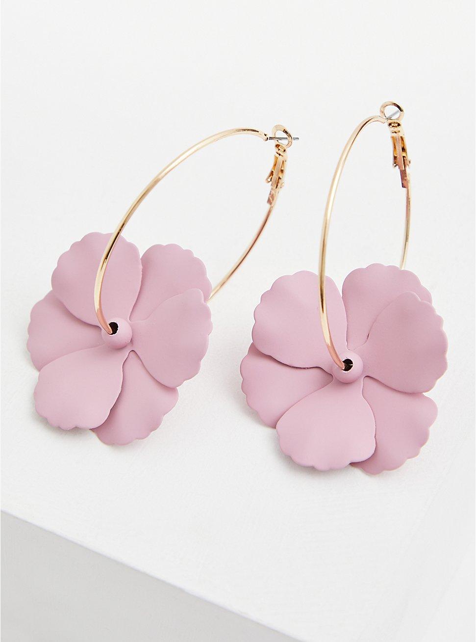Blush Pink Matte Floral Hoop Earrings, , hi-res