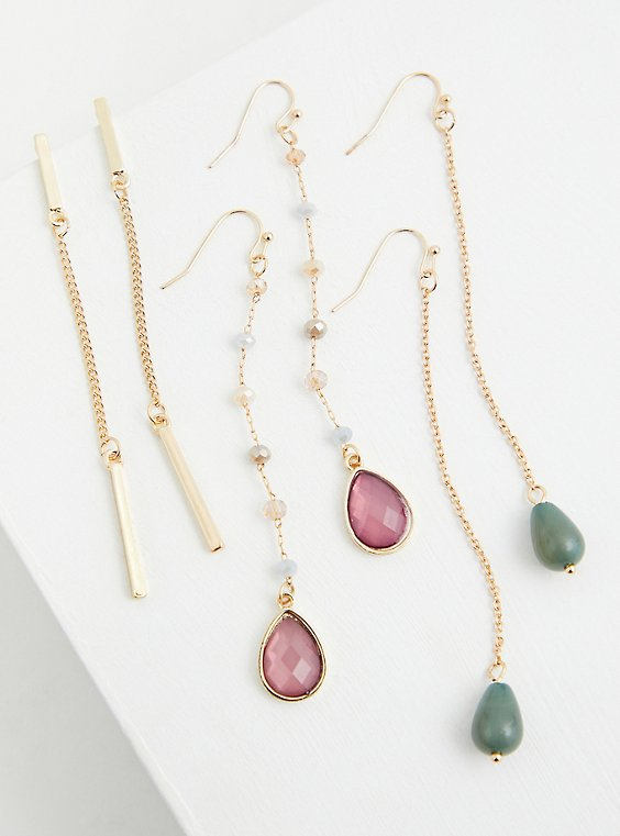 Gold-Tone Faux Stone Drop Earrings Set - Set of 3, , hi-res