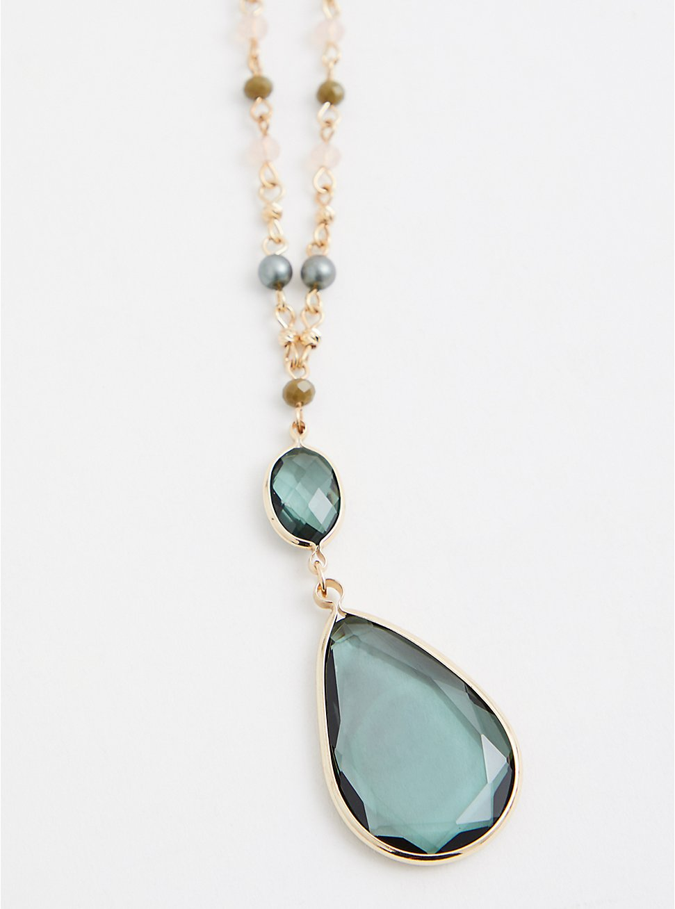 Green Beaded Teardrop Pendant Necklace, , hi-res