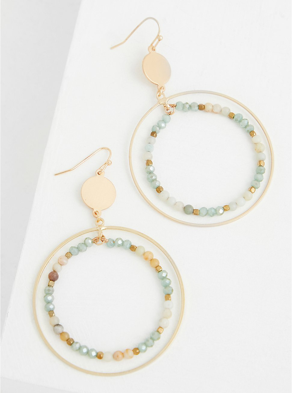 Gold-Tone & Multi Bead Double Circle Drop Earrings, , hi-res