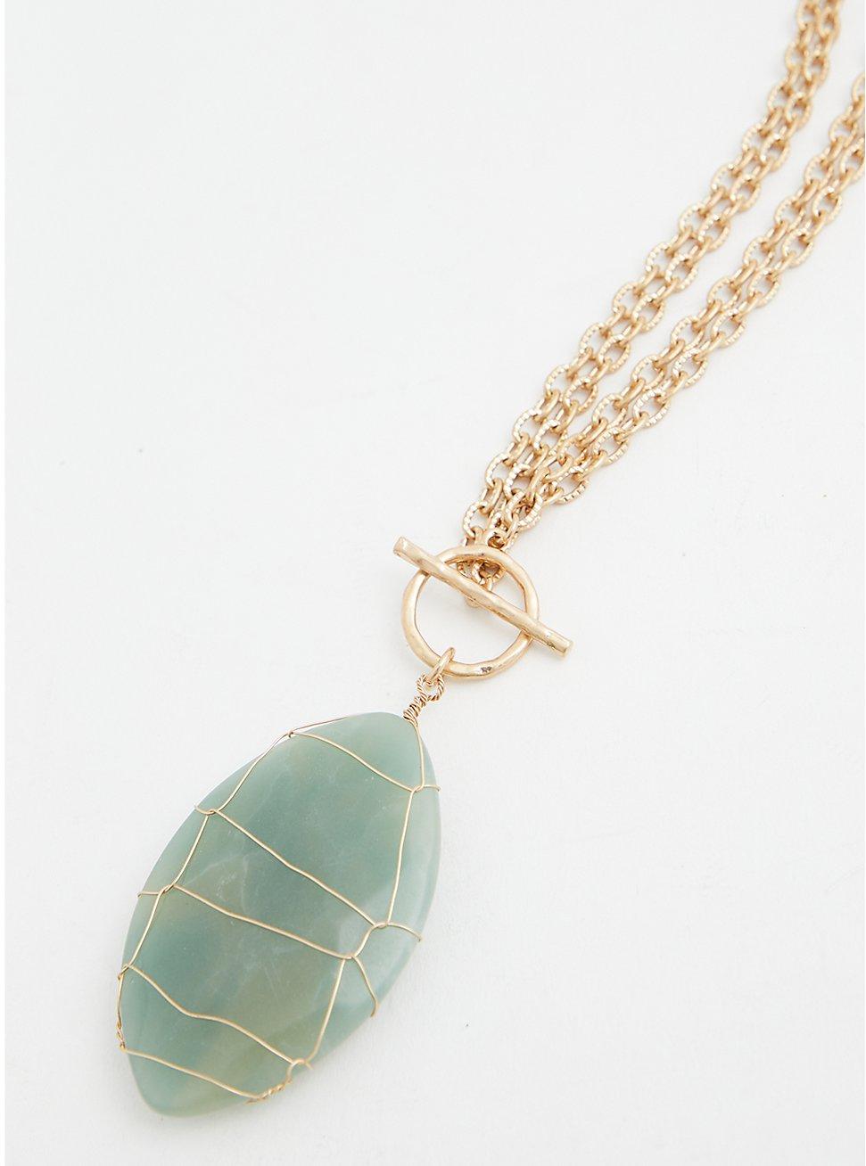 Gold-Tone Mint Stone Pendant Necklace, , hi-res