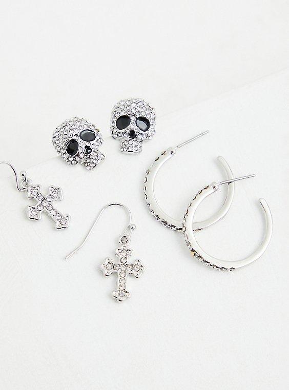 Silver-Tone Skull Hoop Earring Set - Set of 3, , hi-res
