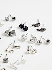 Plus Size Silver-Tone Skull Stud Earring Set - Set of 20, , alternate