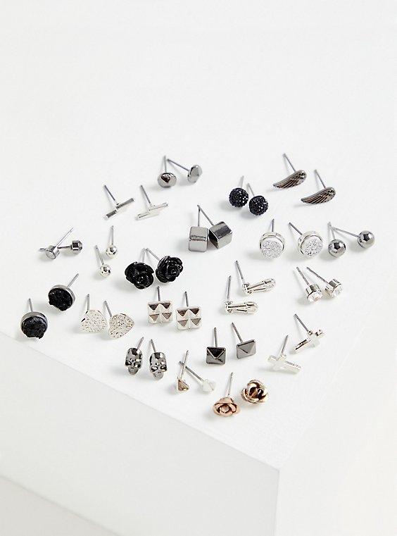 Silver-Tone Skull Stud Earring Set - Set of 20, , hi-res