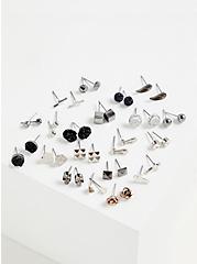 Plus Size Silver-Tone Skull Stud Earring Set - Set of 20, , hi-res