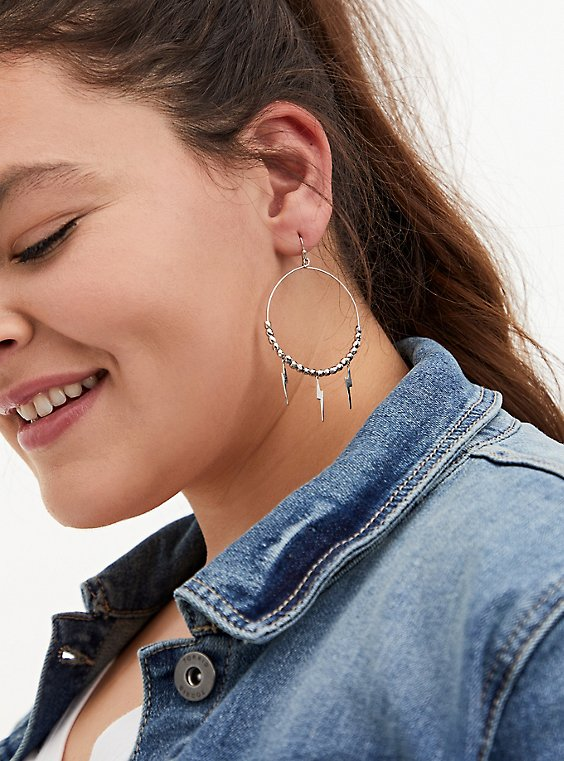Plus Size Silver-Tone Lightning Bolt Hoop Earrings, , hi-res