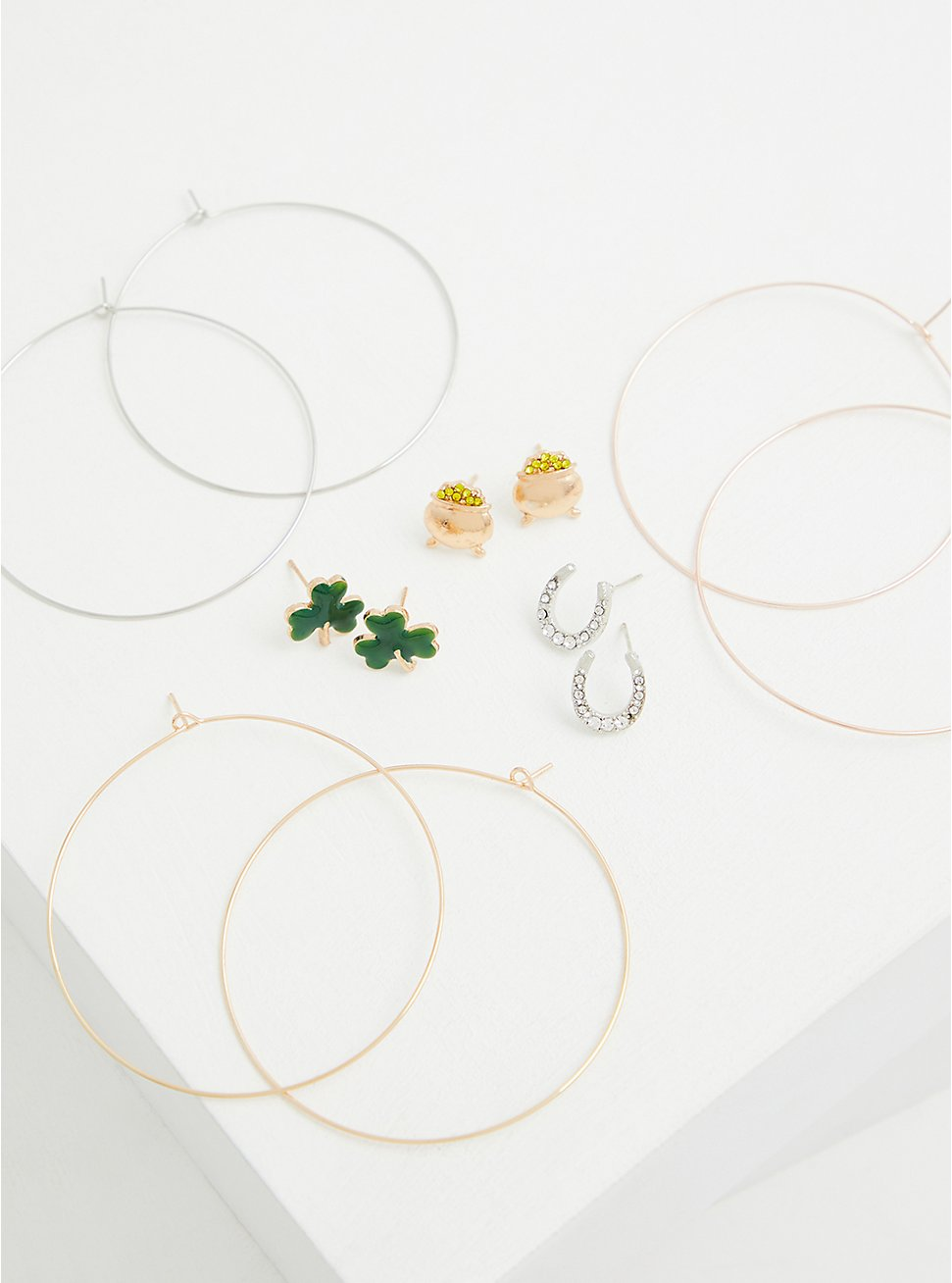 Mixed Metal Lucky Charms Stud & Hoop Earring Set - Set of 6, , hi-res