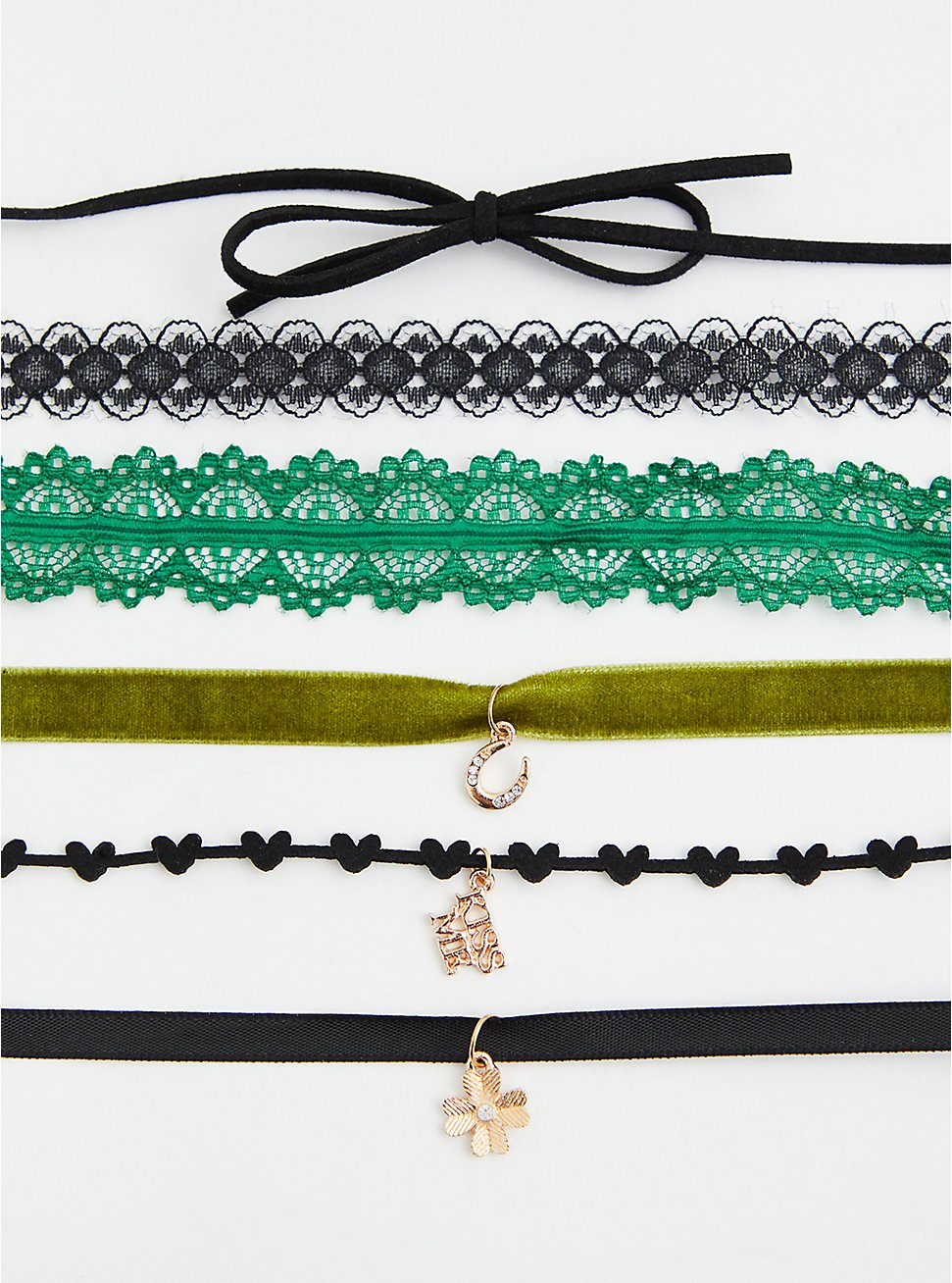 Green Lace Choker Necklace Set - Set of 6 , , hi-res