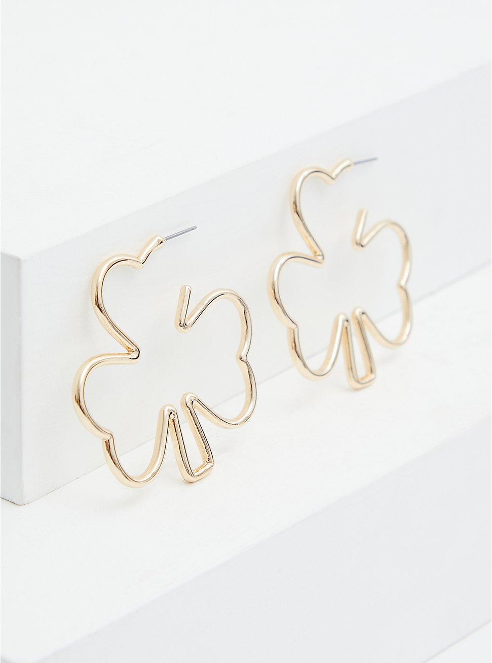 Gold-Tone Shamrock Hoop Earrings, , hi-res