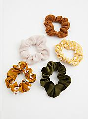 Brown Floral Hair Tie Pack - Pack of 5 , , alternate