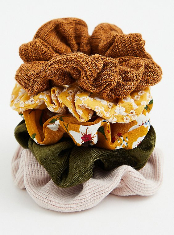 Brown Floral Hair Tie Pack - Pack of 5 , , hi-res