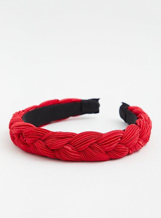 Burgundy Braided Headband, , hi-res