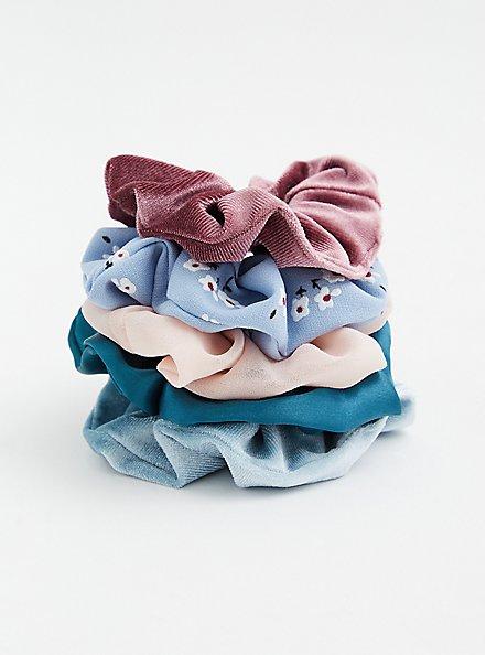 Plus Size Blue Floral & Pink Hair Tie Pack - Pack of 5, , hi-res