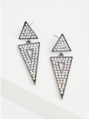Hematite-Tone Triangle Rhinestone Drop Earrings, , hi-res